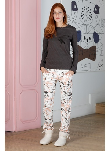 Hays Artisan Kadın Leylek Desenli Uzun Pijama Takımı Kahve